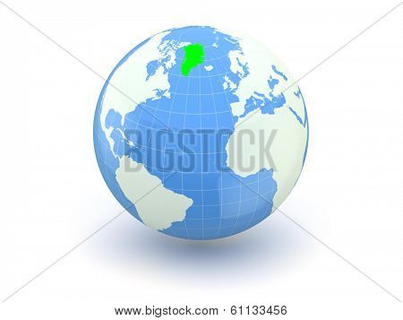 Globe. 3d. Greenland. Elements of this image furnished by NASA