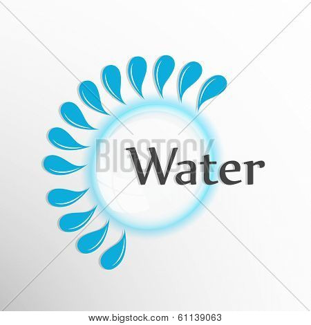 World Water Day sticker, tag or label design with stylish text water and splash on grey background.