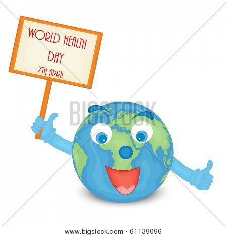 Abstract world heath day concept with happy globe holding tag for world health day.