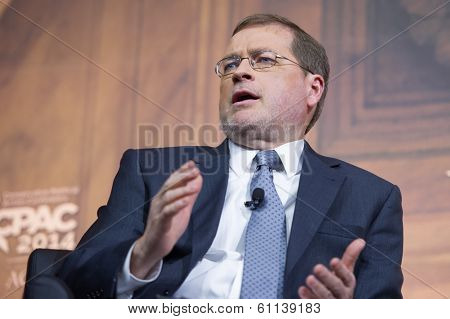 NATIONAL HARBOR, MD - MARCH 7, 2014: Grover Norquist, president of Americans for Tax Reform, speaks at the Conservative Political Action Conference (CPAC).