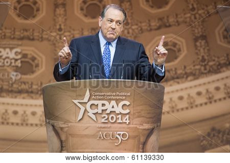 NATIONAL HARBOR, MD - MARCH 7, 2014: Political commentator and former Arkansas  Governor Mike Huckabee speaks at the Conservative Political Action Conference (CPAC).