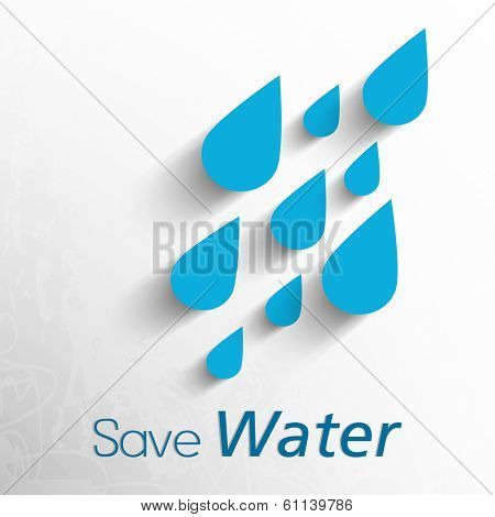 World Water Day concept with water drops and stylish text Save Water on grey background.