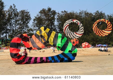 Colorful kite at International Kite Festival 15th at Cha - Am beach