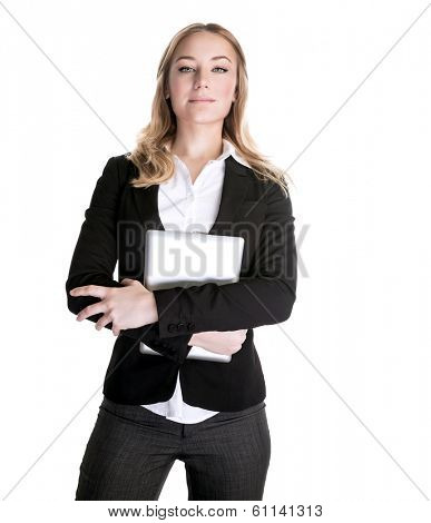 Confident beautiful young business woman with laptop in hands isolated on white background, general manager in financial company