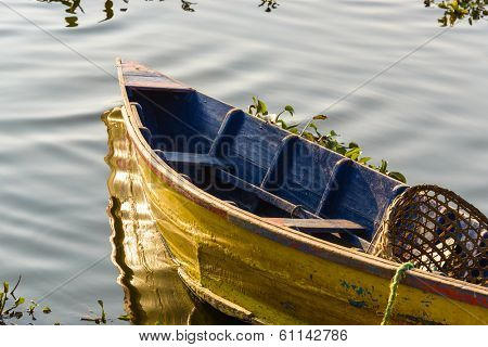 Boat on Phewa Lake in Pokhara, Nepal