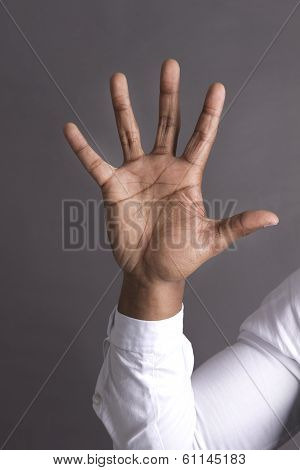 Young Black Man Five Finger on hand