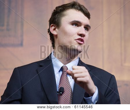 NATIONAL HARBOR, MD - MARCH 7, 2014: Charlie Kirk, Executive Director of Turning Point USA, speaks at the Conservative Political Action Conference (CPAC).