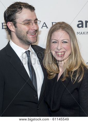 NEW YORK-FEB 5: Marc Mezvinsky and Chelsea Clinton attend the 2014 amfAR New York Gala at Cipriani Wall Street on February 5, 2014 in New York City.
