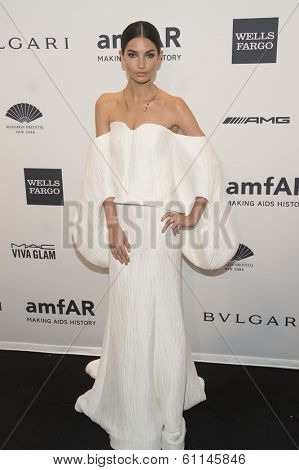 NEW YORK-FEB 5: Model Lily Aldridge attends the 2014 amfAR New York Gala at Cipriani Wall Street on February 5, 2014 in New York City.