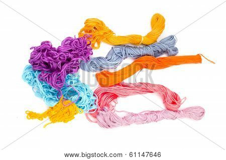 Colored Threads Isolated on a White Background