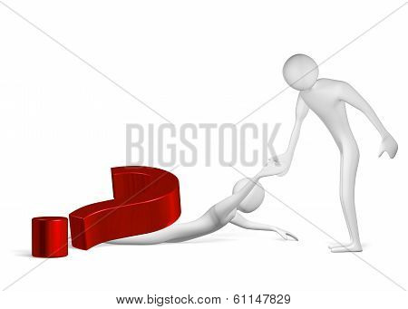 3D Man Helping Another One Crushed By Question Mark