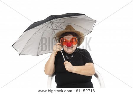 portrait of the elderly woman with an umbrella