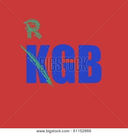 KGB inscription on a red background.  vector eps 8