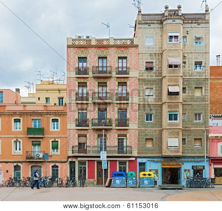 Facade Of The Old Houses In Barcelona, Spain