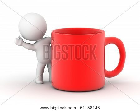 3D Man waving from behind red cup