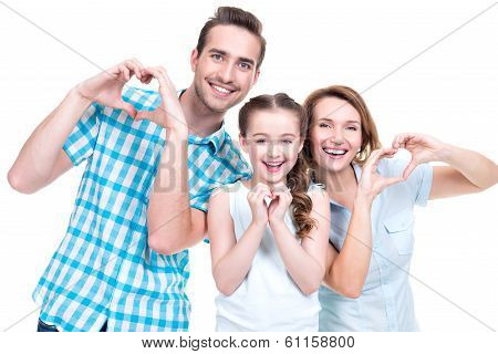 Happy European Family With Child Shows The Heart Shape