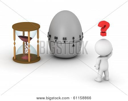 3D Man with Hourglass and Egg Timer