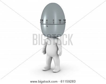 3D Character with Pomodoro Egg Timer as head