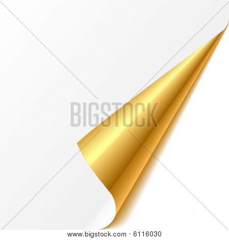 Turned corner. Gold. Vector.