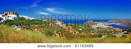panorama of scenic Patmos island. view of Chora and monastery. G
