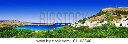 wonderful Greece - Rhodes island, panorama of Lindos bay