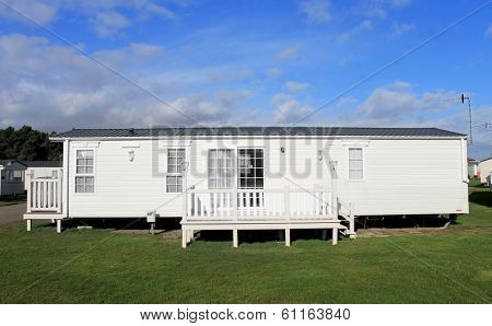 Luxurious modern caravan on English trailer park.