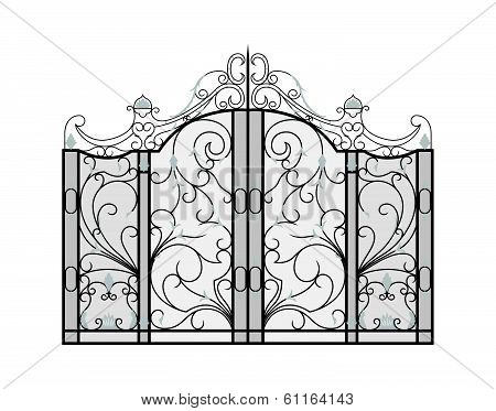 Forged gate isolated on white.