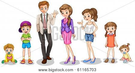 Illustration of a big family on a white background