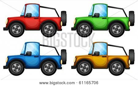 Illustration of the four colorful jeepneys on a white background