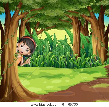 Illustration of a young girl hiding at the forest