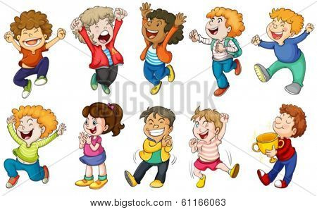 Illustration of the happy kids on a white background