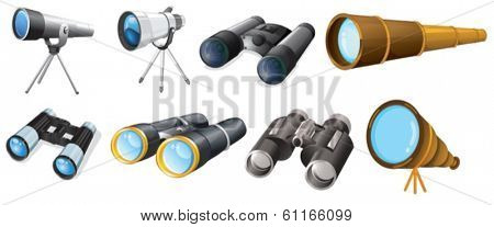 Illustration of the different telescope designs on a white background