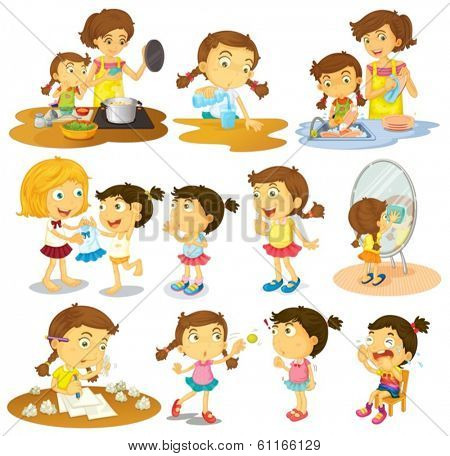 Illustration of the different actions of a young girl on a white background