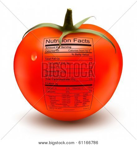 Tomato with a nutrition facts label. Concept of healthy food. Vector.