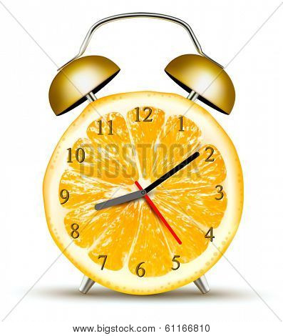 Alarm clock made of an orange. Concept of diet. Vector.