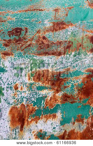Rust And green Peeling Paint Background