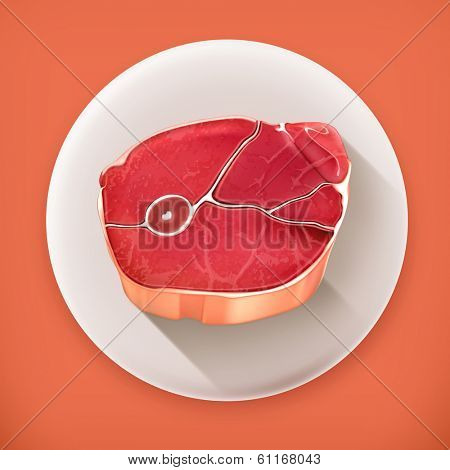 Steak meat, long shadow vector icon