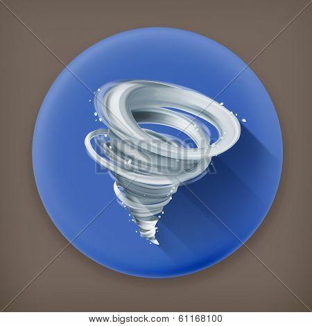 Tornado long shadow vector icon