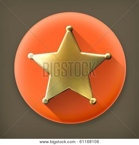 Star, long shadow vector icon