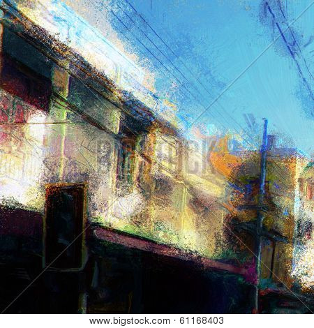 Rough colorful painting of streetside buildings