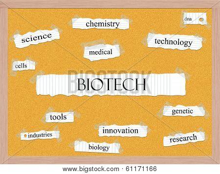 Biotech Corkboard Word Concept