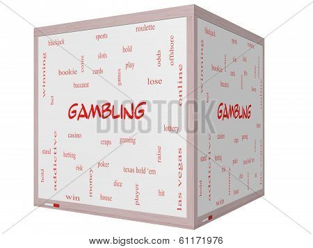 Gambling Word Cloud Concept On A 3D Cube Whiteboard