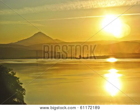 Columbia River with Golden Sunset and Mt. Rainier