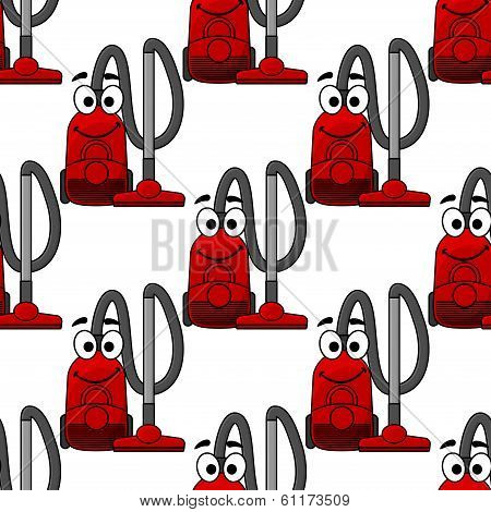 Happy smiling vacuum cleaner seamless pattern