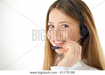 Smiling Woman Phone Operator