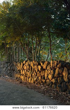 Traditional Stone Boundary Of Jeju Island In Korea