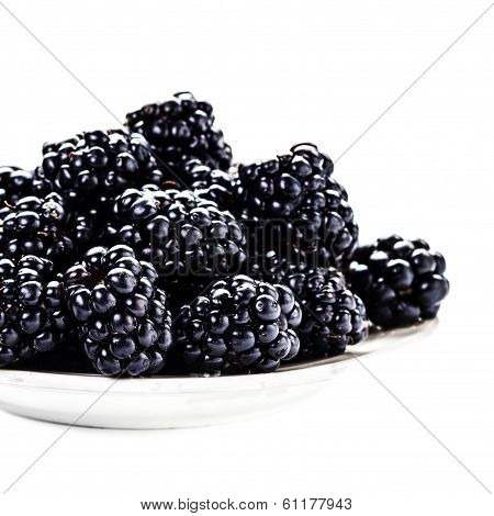Fresh Blackberries In A Bowl Isolated On White Background, Close Up. Summer Berries, Selective Focus