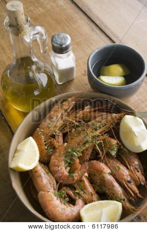 Delicious Shrimps With Olive Oil And Lemon