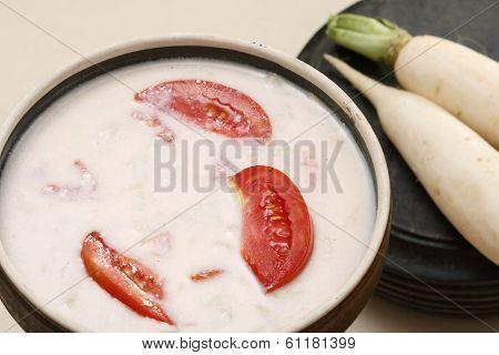Mooli Ka Raita Is A Combination Of Yogurt Mix With Spices And Grated Radish