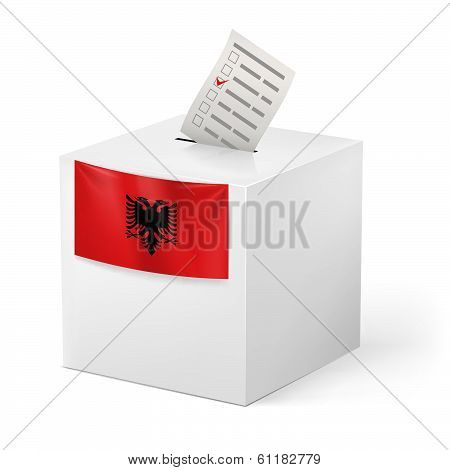 Ballot box with voting paper. Albania